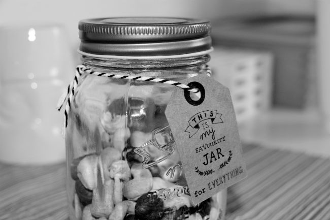 Mason jar with label