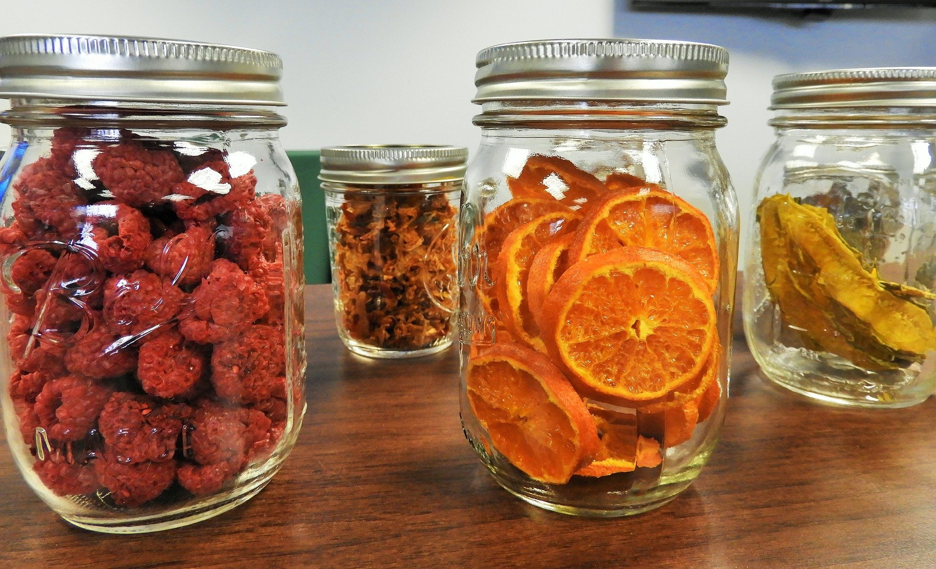Mason jars with dried fruit